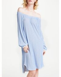 Marc Cain - Striped Off The Shoulder Dress - Lyst