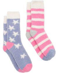 Joules - Fab Fluffy Star Stripe Ankle Socks - Lyst
