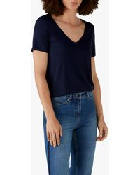Pure Collection Jersey V-neck Short Sleeve Top - Blue