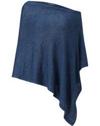 Jigsaw Linen Poncho - Blue