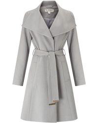 Miss Selfridge Grey Wrap Fit And Flare Coat
