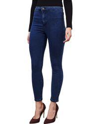 Miss Selfridge Petite Steffi Super High Waist Skinny Jeans - Blue