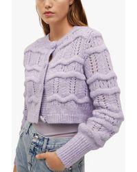 Mango Chunky Knit Cropped Cardigan - Purple
