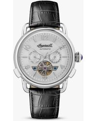 Ingersoll I00903b The New England Automatic Chronograph Date Heartbeat Leather Strap Watch - Metallic
