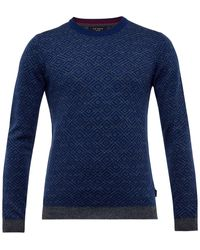 Ted Baker Brooks Knitted Crew Neck Jumper - Blue