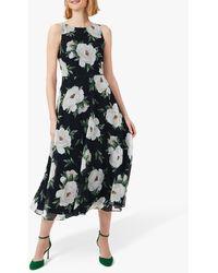 Hobbs Carly Floral Print Midi Dress - Blue