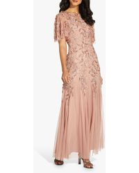 Adrianna Papell Beaded Embroidered Maxi Gown - Pink