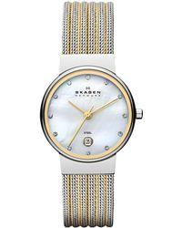 Skagen - 355Ssgs Women'S Two Tone Mother Of Pearl Dial Watch - Lyst