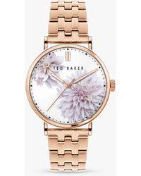 Ted Baker Bkpphs120 Phylipa Peony Bracelet Strap Watch - Metallic