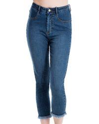Max Studio Released Hem Jeans - Blue