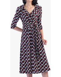 Jolie Moi Vintage Cross Front Tea Dress - Blue