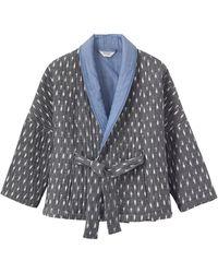 Toast Ikat Quilted Kimono Jacket - Grey