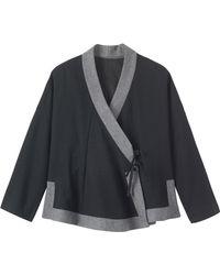 Toast Soft Wool Wrap Jacket - Black