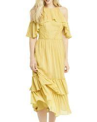 Oasis Ruffle Midi Dress - Yellow