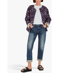 Hush Orna Paisley Floral Quilted Jacket - Blue