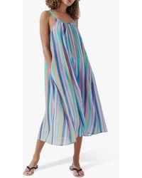 Crew Striped Strappy Beach Dress - Blue