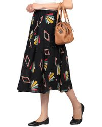 Jolie Moi Tiered Midi Skirt - Black