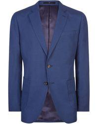 Jaeger Silk Linen Regular Fit Suit Jacket - Blue