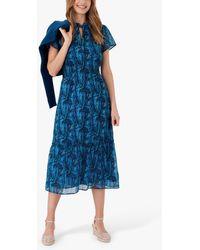 Brora Liberty Cotton Chiffon Floral Midi Dress - Blue