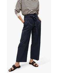 Mango Belted Cotton Blend Trousers - Blue