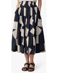 Toast Diamond Print Cotton Skirt - Black