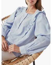 Crew Fine Stripe Cotton Blouse - Blue