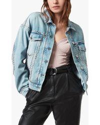 AllSaints Bella Studded Denim Jacket - Blue