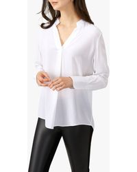 Pure Collection Silk Ribbon Trim Blouse - White