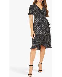 Yumi' Foil Print Ruffle Wrap Dress - Black
