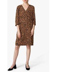 Jaeger Leopard Print Silk Shift Dress - Brown