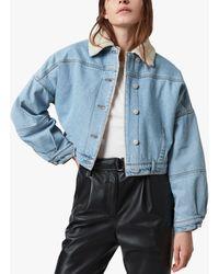 AllSaints Fleece Lined Cropped Denim Jacket - Blue