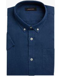 Jaeger Short Sleeve Linen Shirt - Blue