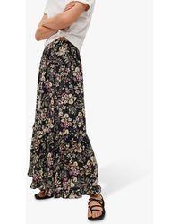 Mango Floral Maxi Skirt - Black