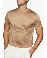 Reiss Bedford Mercerised Cotton T-shirt - Natural