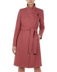 0c542d195f7fa3 Ted Baker Elika Contrast Lapel Short Wrap Coat in Pink - Lyst
