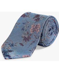 Richard James Large Floral Silk Tie - Blue