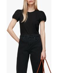 Whistles Broderie Puff Sleeve T-shirt - Black