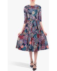 Jolie Moi Roll Collar Paisley Print Midi Dress - Blue