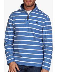 Raging Bull Cotton Blend Pigment Stripe Zip Neck Jumper - Blue