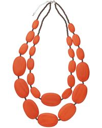 One Button | Large Double Row Pebble Necklace | Lyst