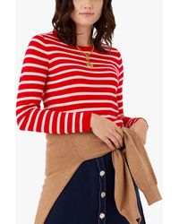 Brora Cotton Striped Knit Tee - Red