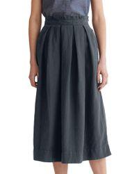Toast Cotton Linen Boxpleat Skirt - Blue