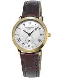 Frederique Constant Fc-235m1s5 Slimline Leather Strap Watch - Multicolour