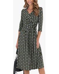 Jolie Moi Geometric Print Midi Wrap Jersey Dress - Multicolour