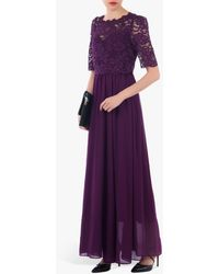 Jolie Moi Lace Overlay Maxi Dress - Purple