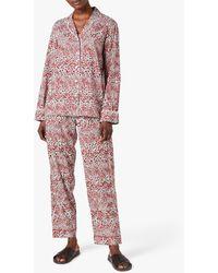 Jigsaw Leopard Print Pyjama Set - Red