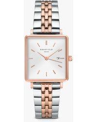 ROSEFIELD The Boxy Date Bracelet Strap Watch - Metallic
