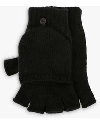 Brora Cashmere Flap Mittens - Black