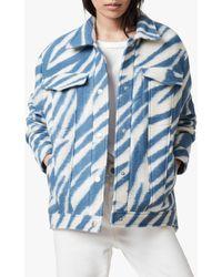 AllSaints Faye Zebra Print Wool Blend Jacket - Blue
