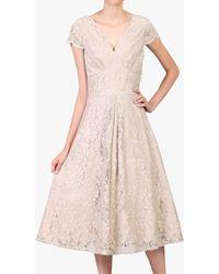 Jolie Moi - Cap Sleeve Lace Prom Dress - Lyst